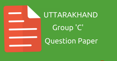 Uttarakhand- Group 'C' Question paper in Hindi-2016-17