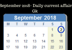 2 September 2018- Daily current affairs Gk