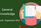 September 2018- General knowledge Question answers