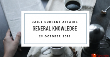 29 October 2018- Daily current affairs Gk