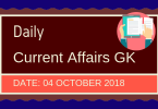 Daily current affairs- General knowledge 4 October 2018