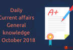 Daily current affairs- General knowledge 7 October 2018
