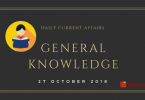 Daily current affairs Gk- 27 October 2018
