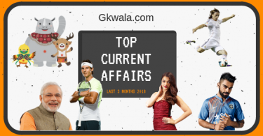 Top Current Affairs GK Questions Answer Last 3 Months 2018