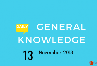 13 November 2018 Current affairs- General knowledge