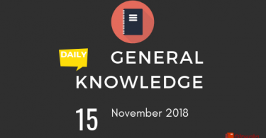 Daily Current affairs Gk- 15 November 2018
