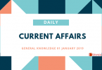 Daily Current Affairs General Knowledge 01 January 2019