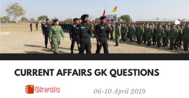 Current Affairs 06-10 April 2019 - Hindi | Gk in Hindi