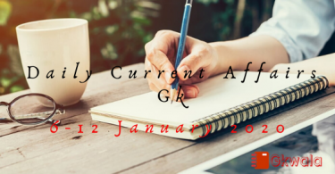 Current Affairs Gk 6-12 January 2020 in Hindi
